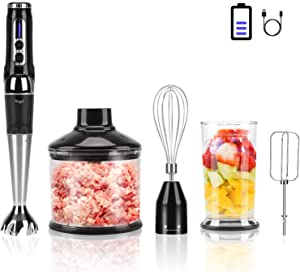 Cordless Hand Blender Rechargeable, Powerful Immersion Stick Blender , Portable Electric Hand Mixer Variable Speed Control with 21-Speed with Chopper