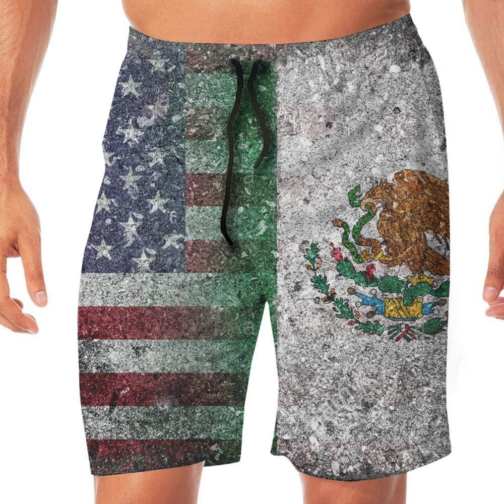STDKNSK9 Mens Merged Flag of USA and Mexico Board Shorts Beach Shorts No Mesh Lining