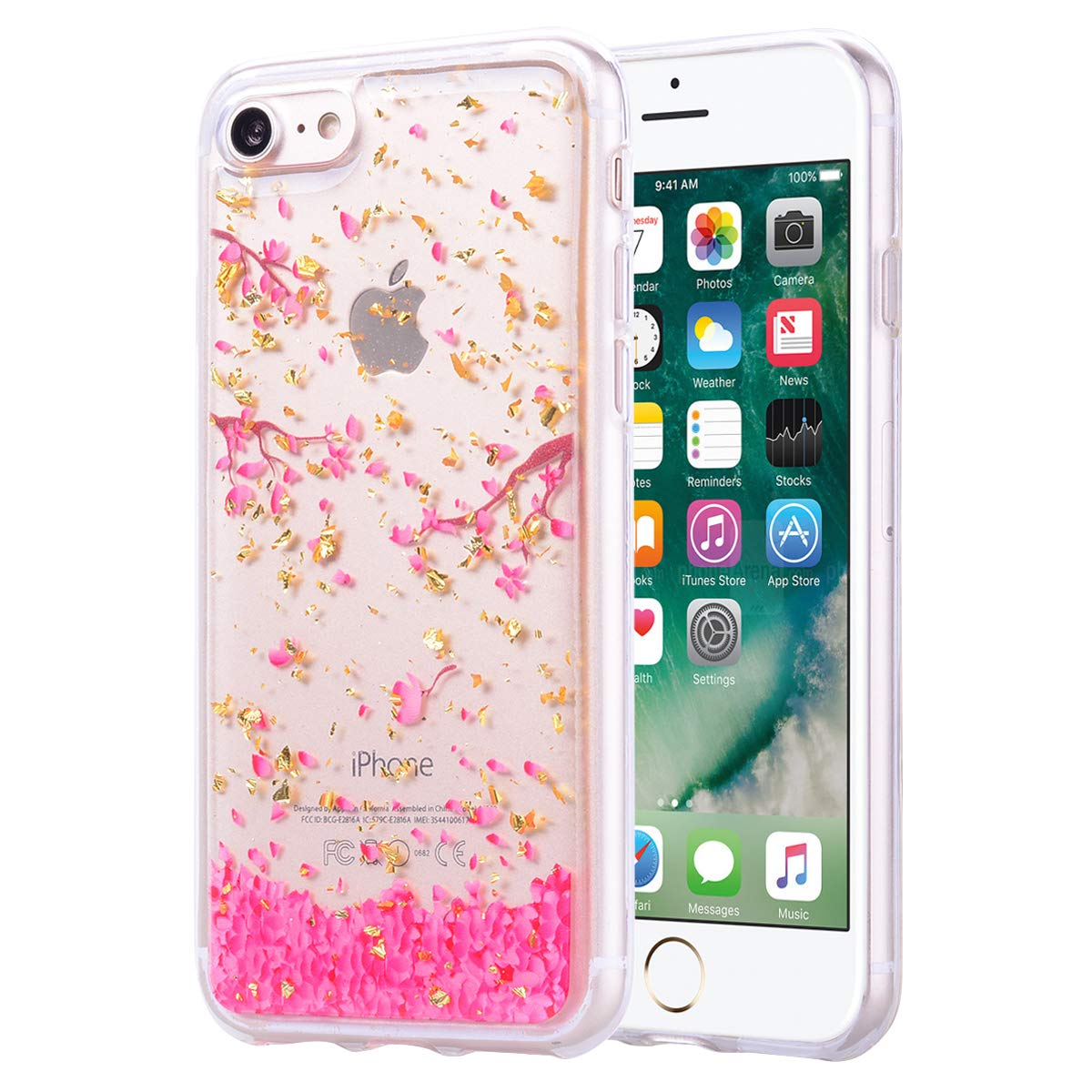Ultra Thin Bling Flexible Compatible with iPhone XR,Flower Animal Printed Drawing Slim Soft TPU Rubber Glitter Sparkle Crystal Clear Transparent Silicone Bumper Protective Back Cover Case