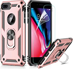LeYi Funda iPhone 6 Plus / 7 Plus / 8 Plus Armor Carcasa con 360 Anillo iman Soporte Hard PC y Silicona TPU Bumper antigolpes Case para movil iPhone 7/8 Plus con HD Protector de Pantalla,Oro Rosa