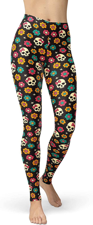 sissycos Women's Candy Skull Printed Leggings Ultra Soft Ankle Length Elastic Tights