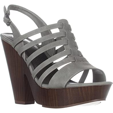de0d3510f G by GUESS Womens seany2 Fabric Open Toe Casual Ankle Strap Sandal Grey  Size 8.0 M
