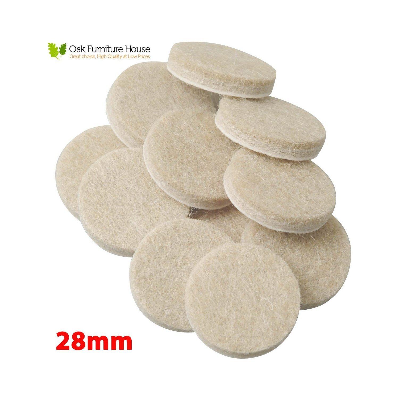 20 Oak Furniture Self Adhesive Felt Pads Wood Floor Protectors (28mm)