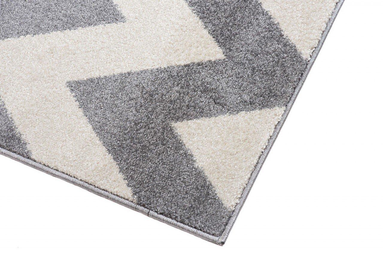 Läufer Teppich Brücke Teppichläufer - - - Modern Zic Zack - Flur Designer Muster Meterware - CasaWeißa Kollektion von Carpeto - Weiß Grau - 120 x 550 cm B079VKP3WK Lufer a8e8d8