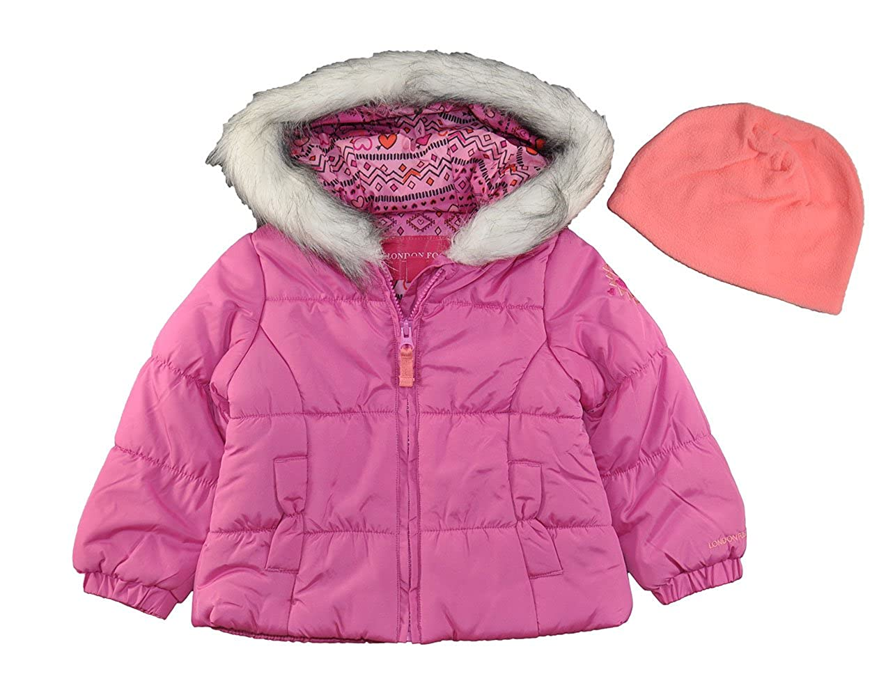 London Fog Coral Printed Puffer Jacket With Faux Fur Lined Hood L217527 Outerwear