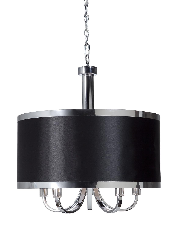 Steven And Chris By Artcraft Lighting Sc435bk Madison Transitional 5 Light Chandelier Black With Chrome Banding Ceiling Pendant Fixtures Com