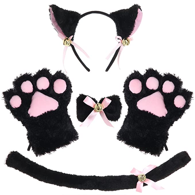 Amazon Com Justincostume Cat Cosplay Set Ears Tail Collar Paws
