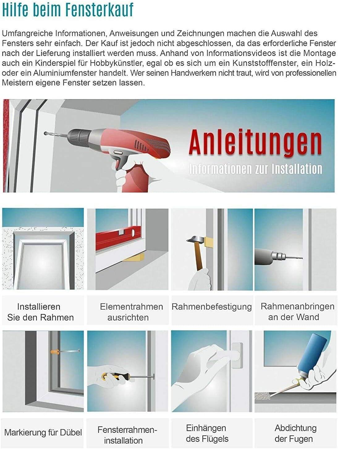 BxH:105x65 cm DIN Rechts 3 fach Verglasung Dreh-Kipp ALLE GR/Ö/ßEN Fenster Kellerfenster Kunststofffenster wei/ß Premium