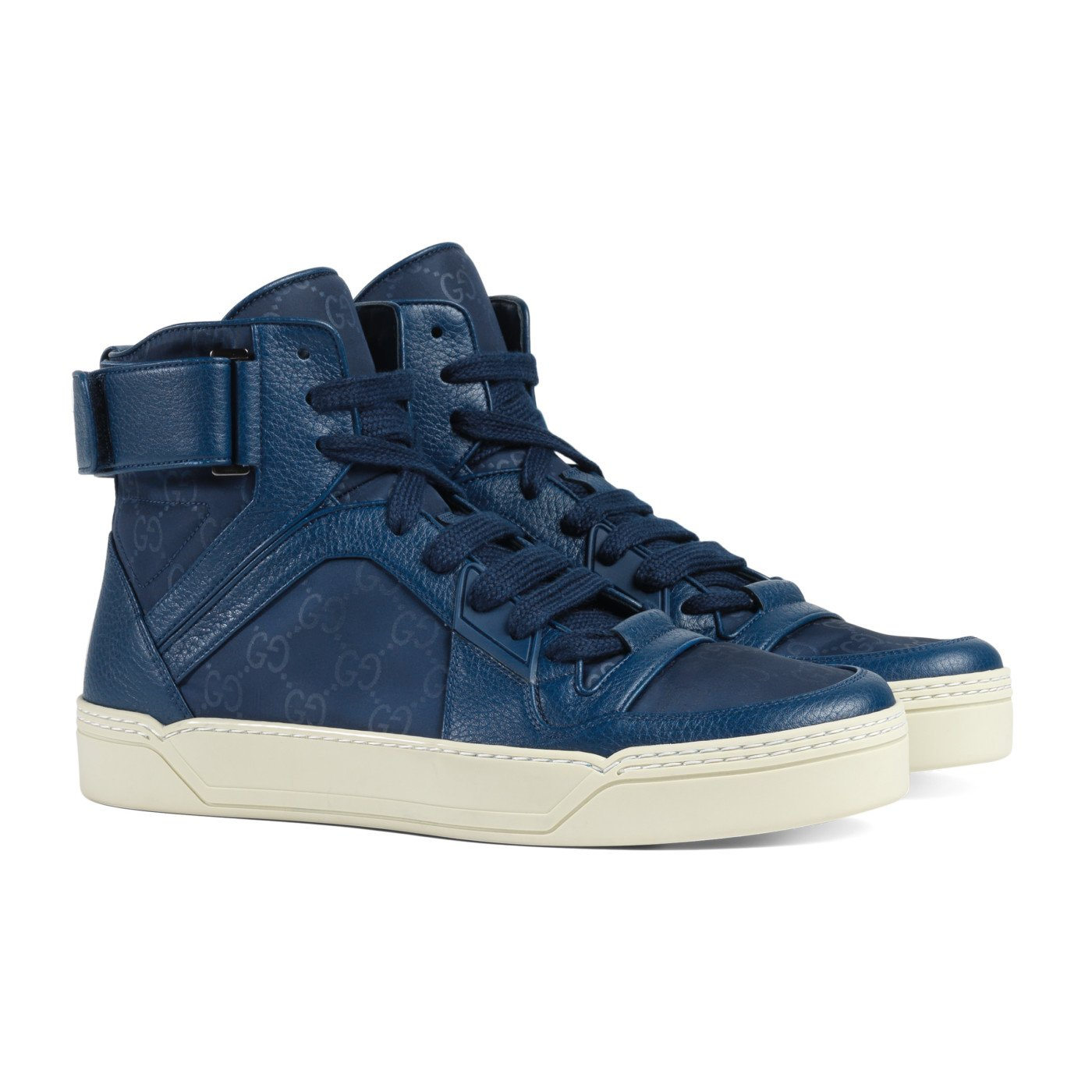 b0126f395 Amazon.com: Gucci Men's Blue Nylon Leather GG Guccissima High Top Sneakers  Shoes, Blue, US 8.5 7.5: Shoes