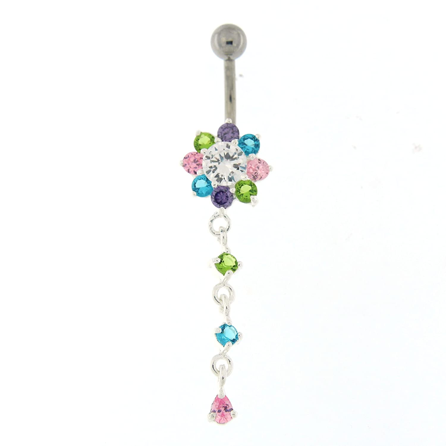 Multi Colored Crystal Stone Fancy Flower 925 Sterling Silver Belly Button Ring Jewelry