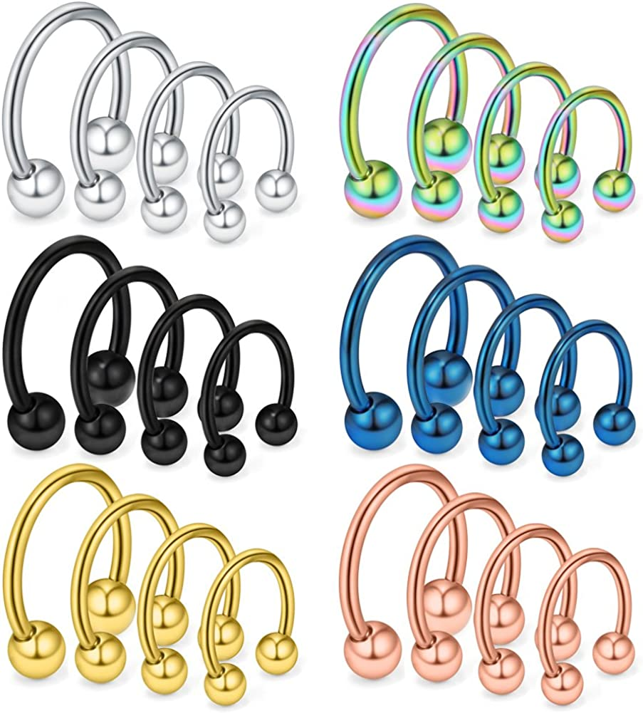 Ruifan 24-36PCS 16G 14G 12G Surgical Steel Nose Septum Horseshoe Earring Eyebrow Tongue Lip Nipple Helix Tragus Piercing Rings 6-19mm