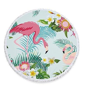 stillshine redondo Toalla de playa con borla Micro Fiber Flores Impresión Toalla de secado rápido toalla