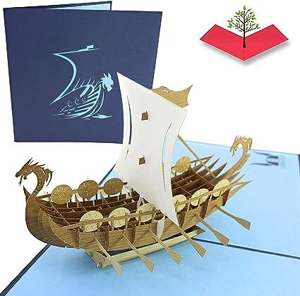 PopLife Cards Tarjeta del vikingo del día de padre de la nave vikinga de los vikingos para todas las ocasiones día del padre, feliz cumpleaños, ...