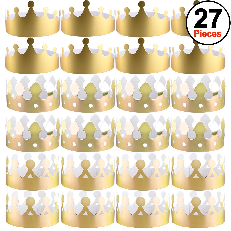 SIQUK 27 St/ück Golden Kronen Papier Kronen Basteln Party Gold Kronen H/üte K/önig Kronen f/ür Party und Feier