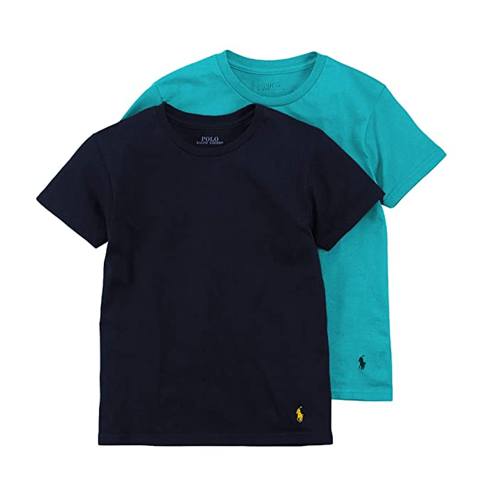 f830d2fd3 Polo Ralph Lauren Boy`s Cotton Crew Neck Undershirts 2 Pack (Turquoise(X1D)/Obsidian,  Large): Amazon.ca: Clothing & Accessories
