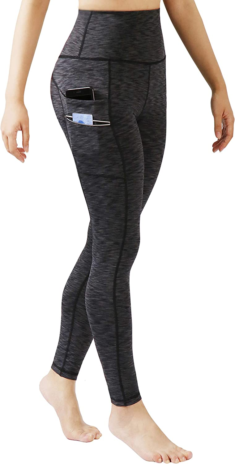 ODODOS Women's High Waisted Tummy Control Workout Pants, Full-Length Leggings with Dual Pockets