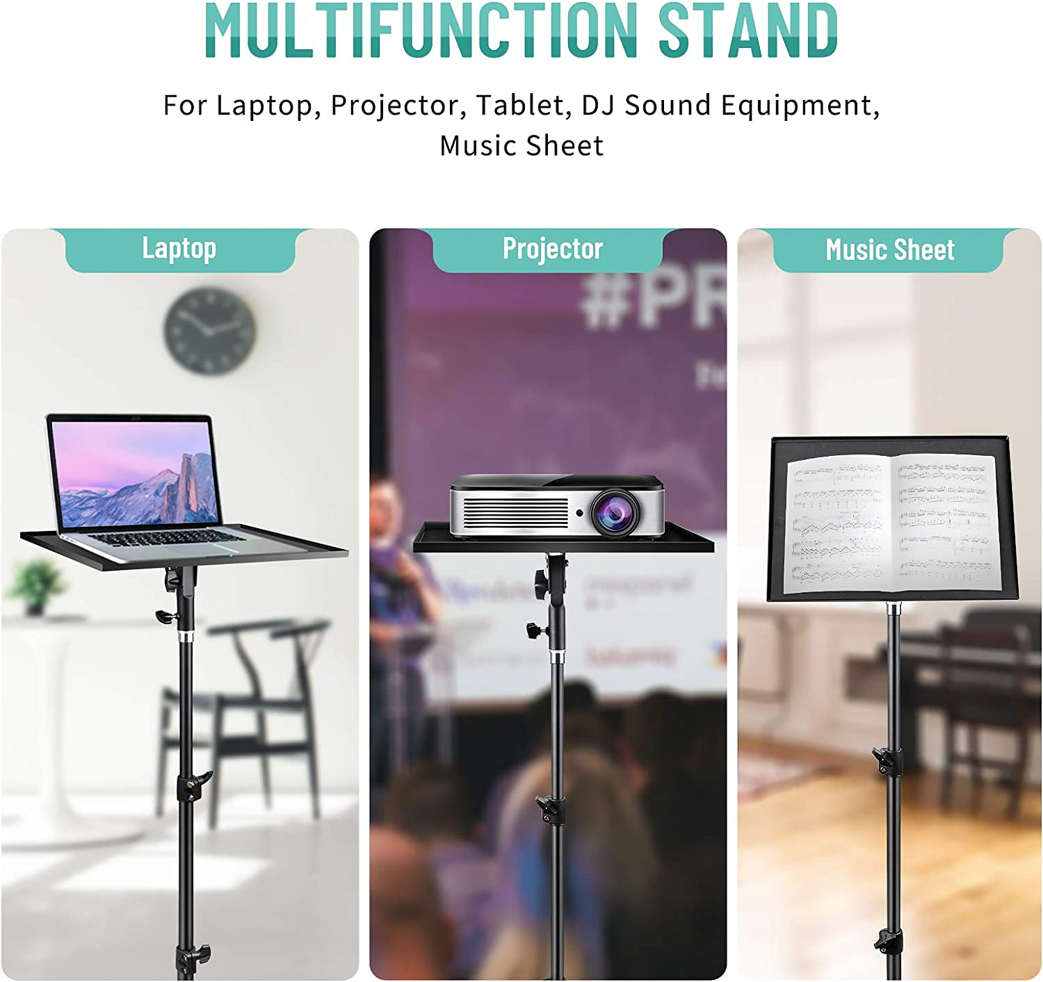 Laptop Projector Tripod Stand Height Adjustable 23 to 44 Inch Outdoor Foldable Tripod Stand for Stage or Studio Universal Adjustable Laptop Stand Computer DJ Equipment Holder Mount