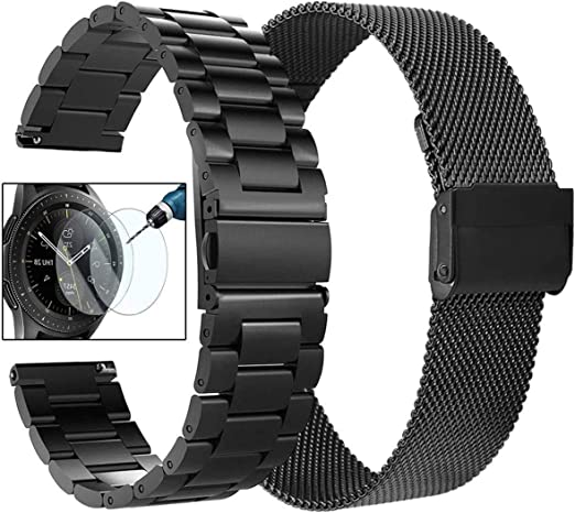 CAGOS Compatible Samsung Galaxy Watch Active 2 40mm/44mm Bands Sets, 20mm Metal Band + Mesh Loop Bracelet Strap for Galaxy Watch 42mm/ Garmin ...