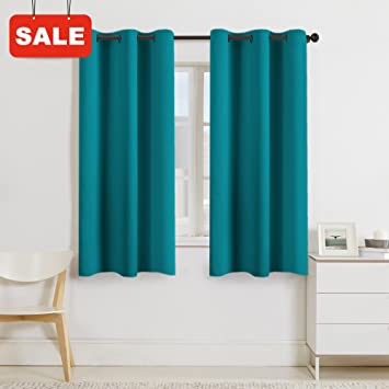 Turquoize Solid Blackout Drapes Room Darkening Teal Blue Turquoise Themal Insulated