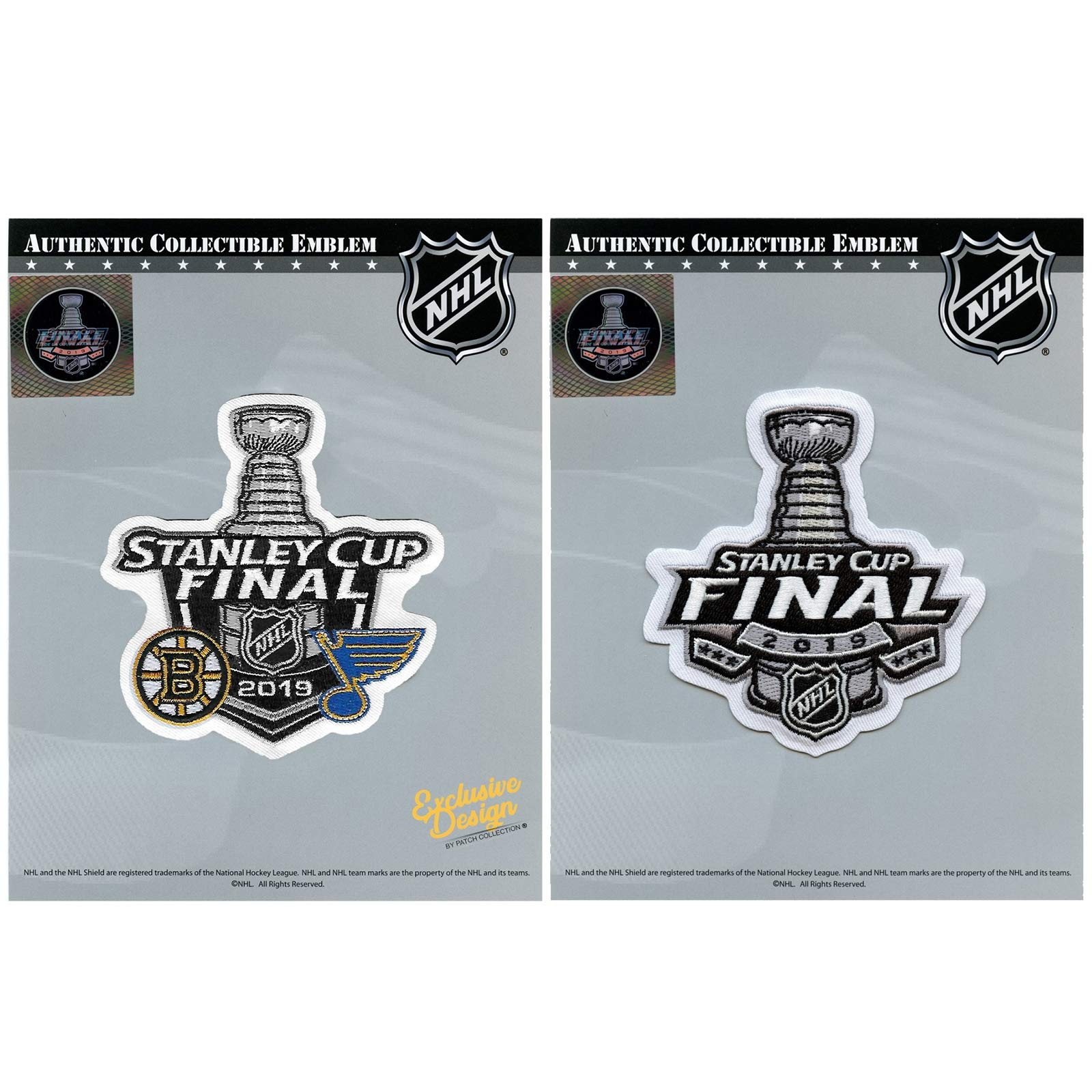 2019 Stanley Cup Final and 2019 Dueling Boston Bruins Vs Blues Patch Combo