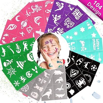 LeCou Glitzer Tattoo Set mit 20 Schablonen Designs für Mädchen Geschenk Kinder 6