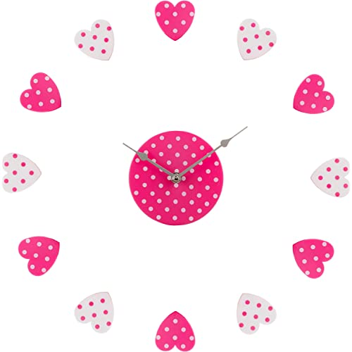 Premier Housewares DIY Heart Wall Clock Pink/ White