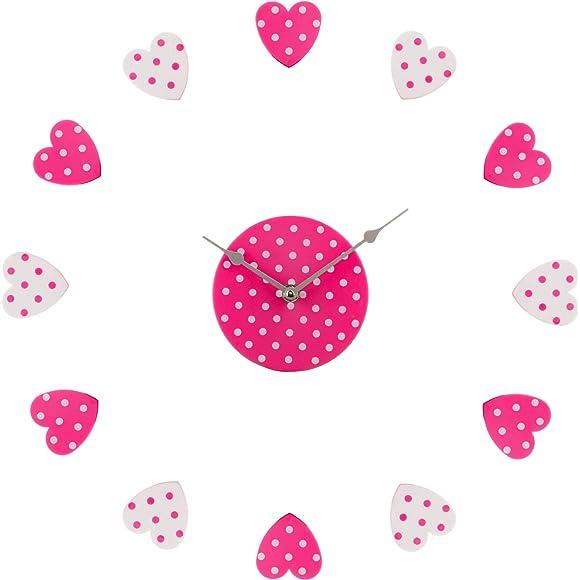 Premier Housewares DIY Heart Wall Clock Pink/ White
