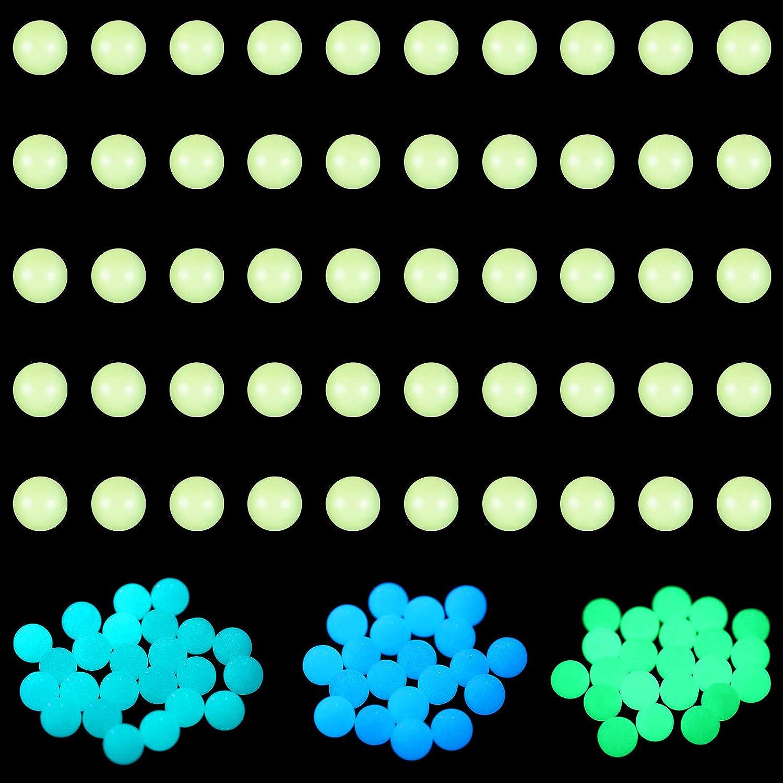 150 Pieces Quartz Pearl Balls 6 mm Glowing Quartz Balls Luminous Balls for Jewelry Making Craft Project Decorations Supplies (Green, Blue, Blue Green)