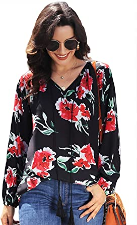 Camisa De Mujer Moda Casual Manga Larga con Cuello En V Bohemio Camisa De Mujer Campesina con Estampado Floral Camisa De Gasa S-XXL, Negro, XXL: Amazon.es: Ropa y accesorios