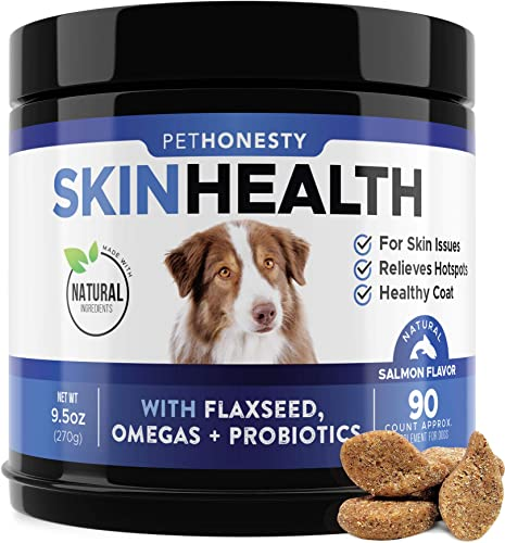 PetHonesty SkinHealth Supplement – Fish Oil for Dogs with Omegas, DHAGold, Flaxseed, Probiotics for Itch-Free Skin, Shiny Coats, Hotspots, Reduce Shedding – Soft Chews for Healthy Skin Coat – 90 ct