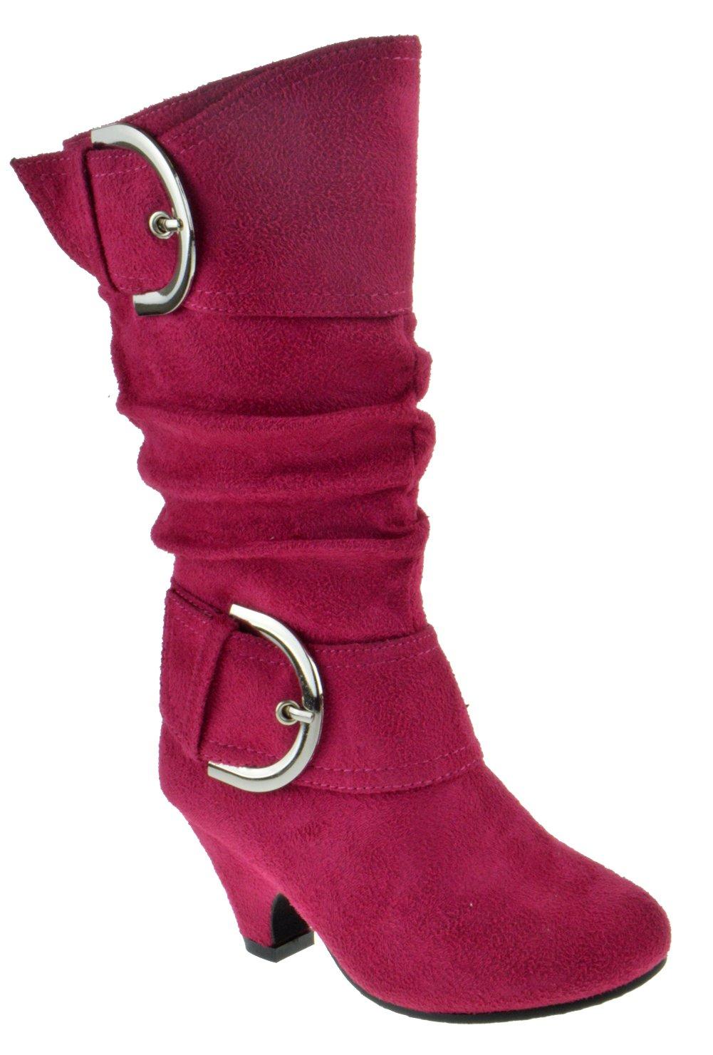 Auto 8K Little Girls Buckle Knee High Dress Boots Fushia 10