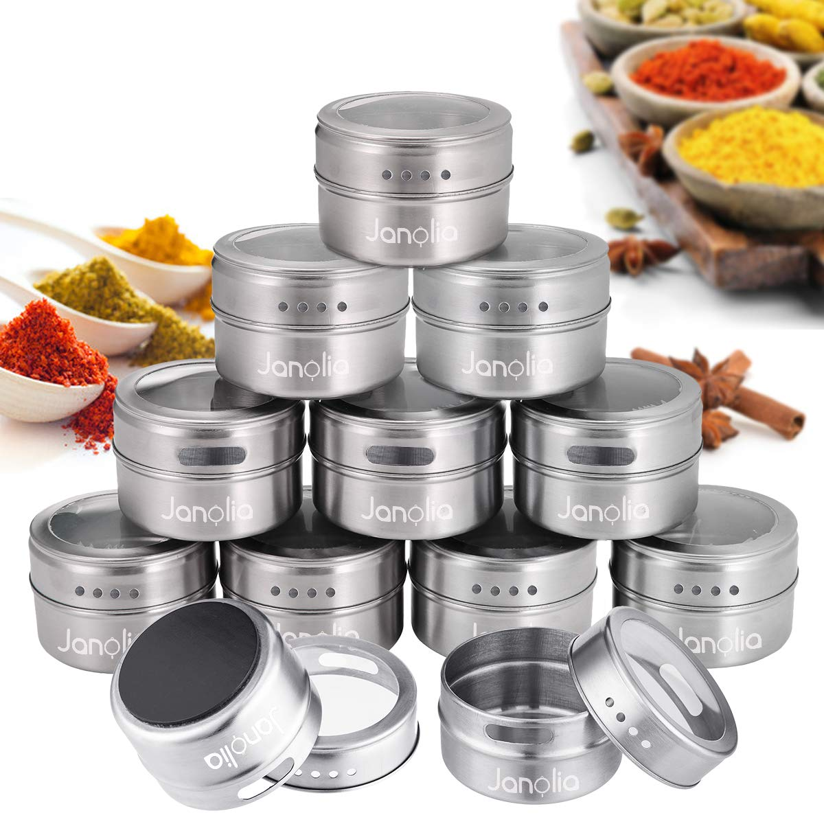 Janolia Magnetic Spice Tins, 12 PCS Round Spice Containers Storage Boxes, Clear Top, Swift Pour, Magnetically Stick on Refrigerator