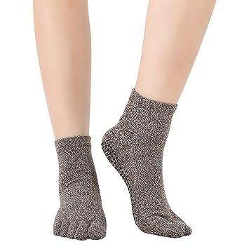 Antideslizante deslizamiento Yoga y Pilates agarre calcetines cinco dedos separador calcetines con agarre algodón para las mujeres (hct05), gris oscuro: ...
