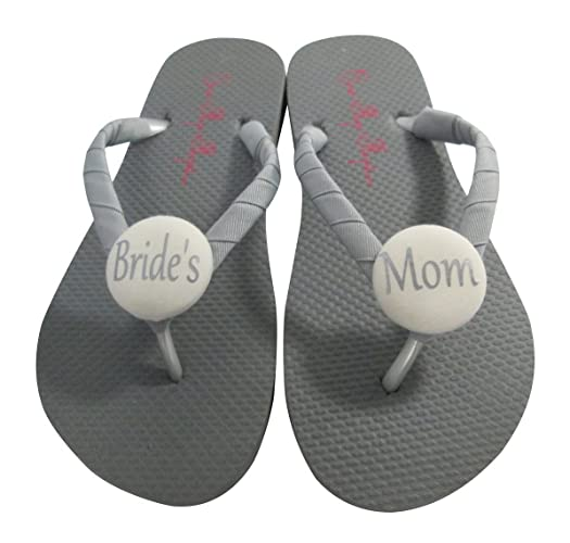 59b4082a6 Amazon.com  Ivory and Gray Mother of the Bride Button Flip Flop Sandals for  Wedding Party Gift  Handmade