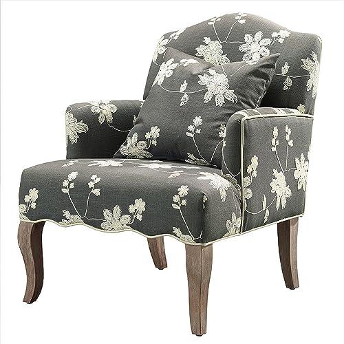 Linon Floral Arm Chair, Grey