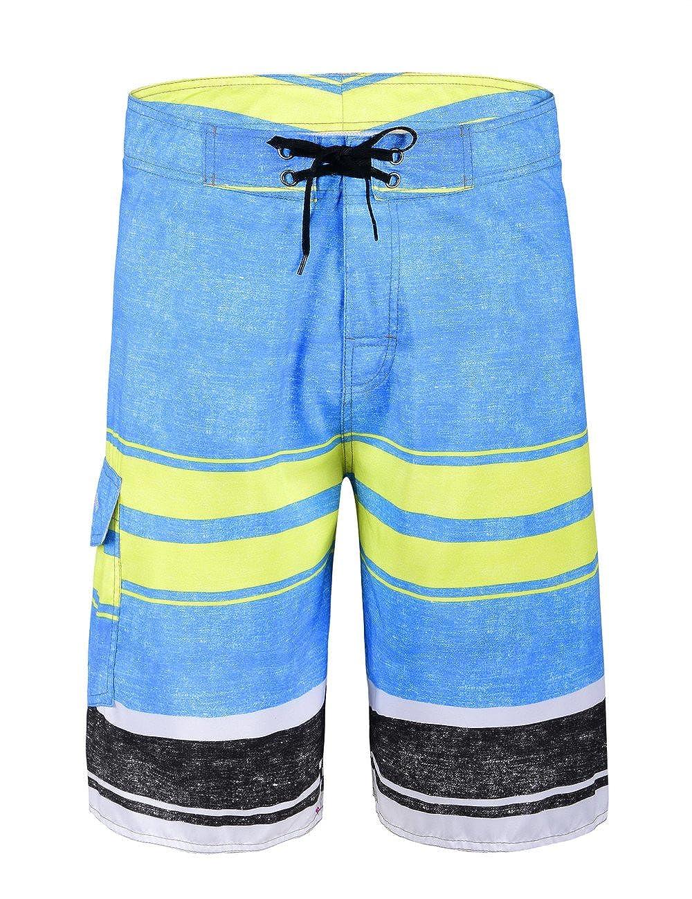 f03af0f8e7cb4 Nonwe Men's Beachwear Striped Printed Boartshort with Mesh Lining JF16171