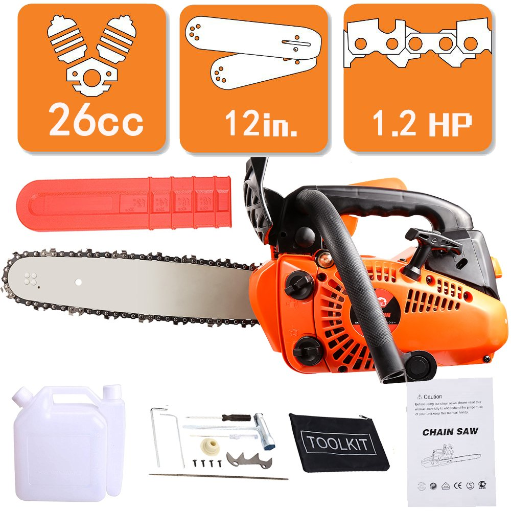 26CC 12inch Powered Petrol Chainsaw w/Bar Cover - Tool Kit - Assisted  Start: Amazon.co.uk: Garden & Outdoors