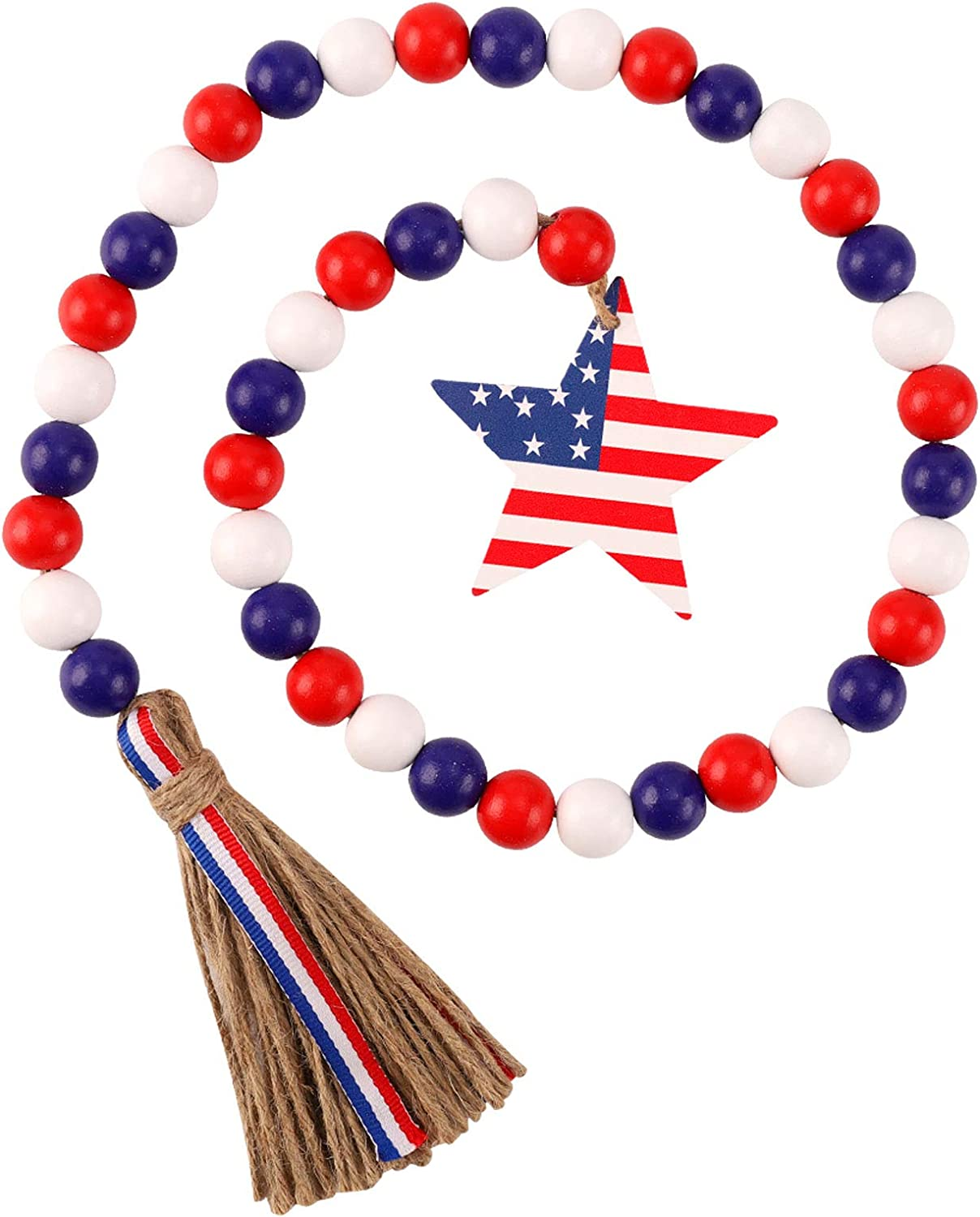KSPOWWIN Independence Day Wood Bead Garland with American Flag Rustic Tassels, Farmhouse Wall Hanging Ornaments Prayer Beads Patriotic 4th of July for Memorial Day Decor