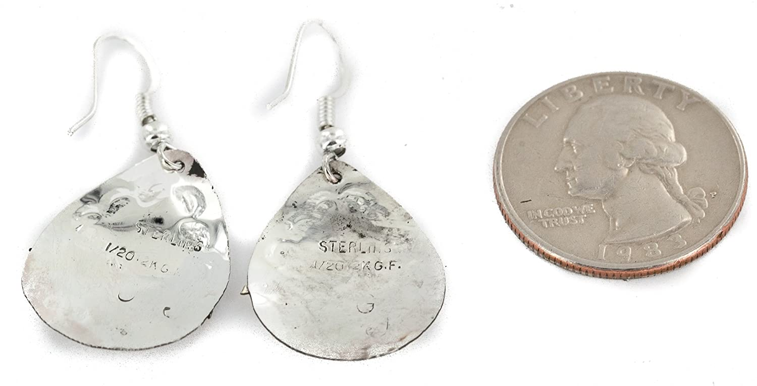 $200Tag 12ktGF Silver Horse Certified Navajo Dangle Native American Earrings 24465 Made By Loma Siiva