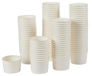 Ice Cream Sundae Cups - 100-Piece Disposable Paper Dessert Ice Cream Yogurt Bowls Party Supplies, 5-Ounce, White