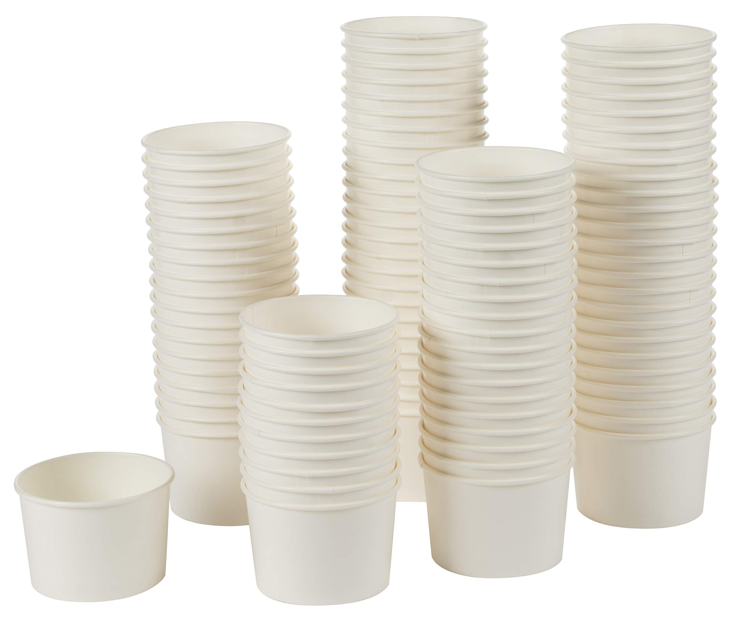 Paper Ice Cream Cups - 100-Count Disposable Dessert Bowls for Hot or Cold Food, 6-Ounce Party Supplies Treat Cups for Sundae, Frozen Yogurt, Soup, White