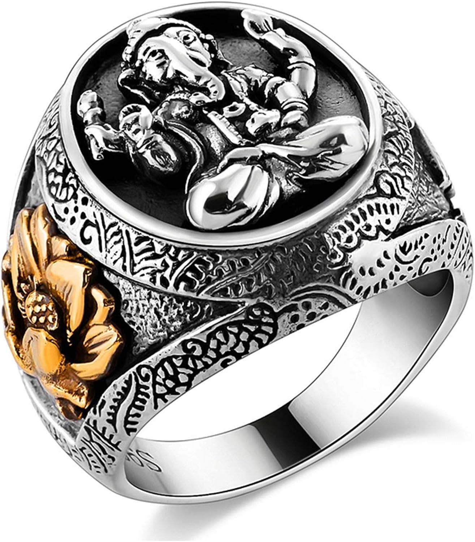 AnazoZ Anillo Gotico Hombre Anillo Budista Dios del Elefante Flor Lotus Anillos de Hombre Plata de Ley Plata Anillo Talla 11-25