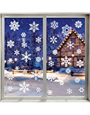 VEYLIN 48 Static Snow Flakes Stickers Snowflakes Window Clings for Christmas Window Display - Static PVC Stickers