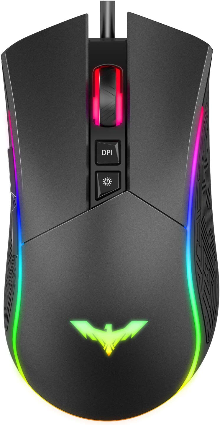 Havit RGB Gaming Mouse Wired Programmable Ergonomic USB Mice 4800 DPI 7 Buttons & 7 Color Backlit for Laptop PC Gamer Computer Desktop
