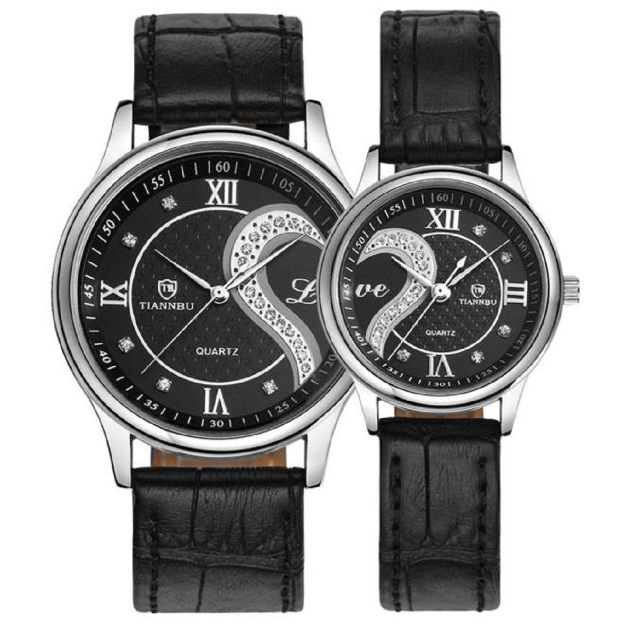 Lookatool 1 Pair/2pc Tiannbu Ultrathin Leather Romantic Fashion Couple Wrist Watches by Lookatool