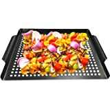 """MEHE Grill Basket, Thicken Nonstick Grilling Topper 14.6""""x11.4 Grill Pan BBQ Accessory for Grilling Vegetable, Fish…"""