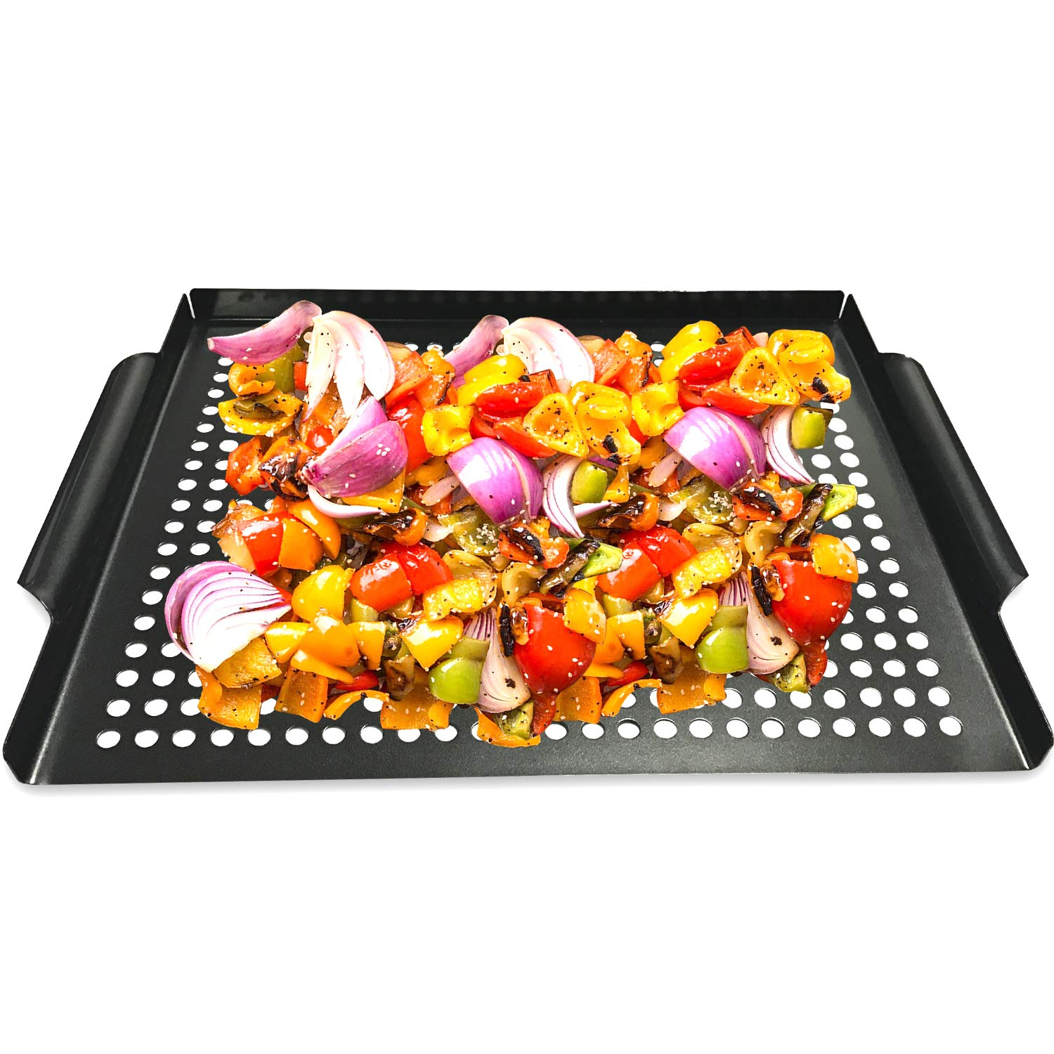 "MEHE Grill Basket, Thicken Will not Warped, Nonstick Grilling Topper 14.6""x11.4 Grill Pan BBQ Accessory for Grilling Vegetable, Fish, Shrimp, Meat, Camping Cookware"