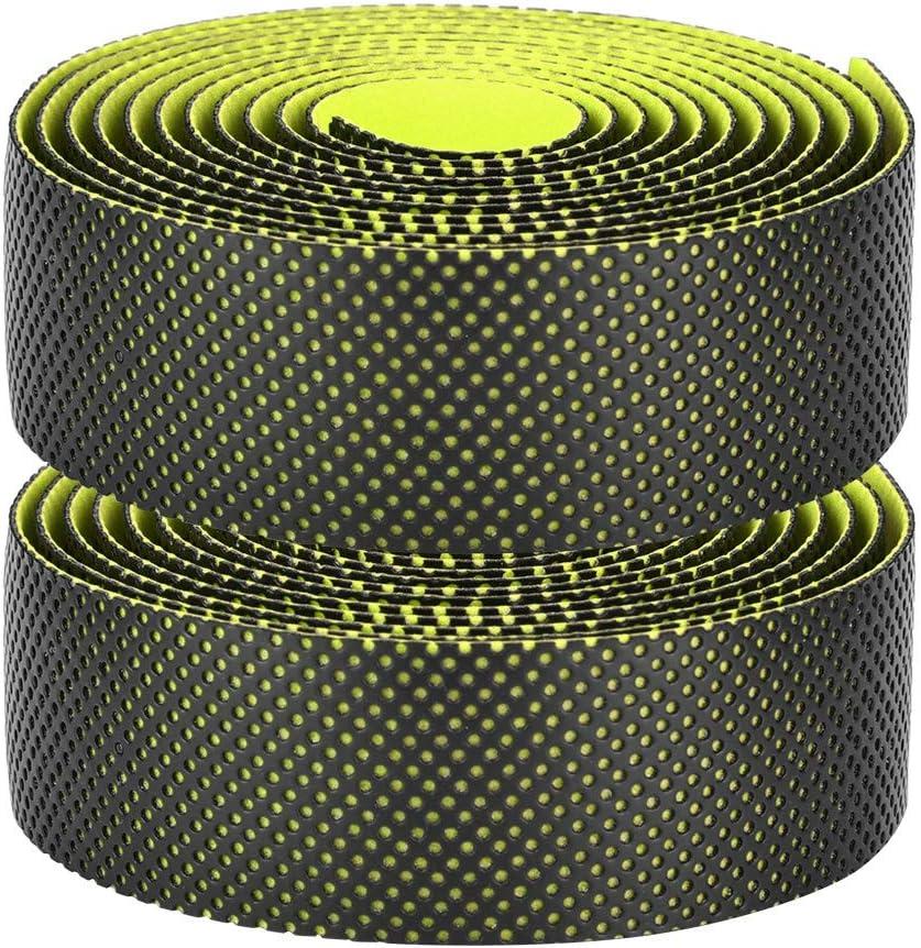 Bike Handlebar Tape Double Colors Double Layer Anti-Slip Bike Handlebars Sweat Absorption Band Black Yellow