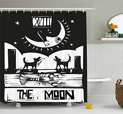 Ambesonne Moon Shower Curtain Brown White Drawing Lobster Wolves Crescent Stars Tarot Card Design