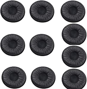 20 pcs Ear Cushions Leatherette Spare Replacement Earpads for Plantronics Supra Plus Encore and Most Standard Size Office Telephone Headsets H251 H251N H261 H261N H351 H351N H361 H361N